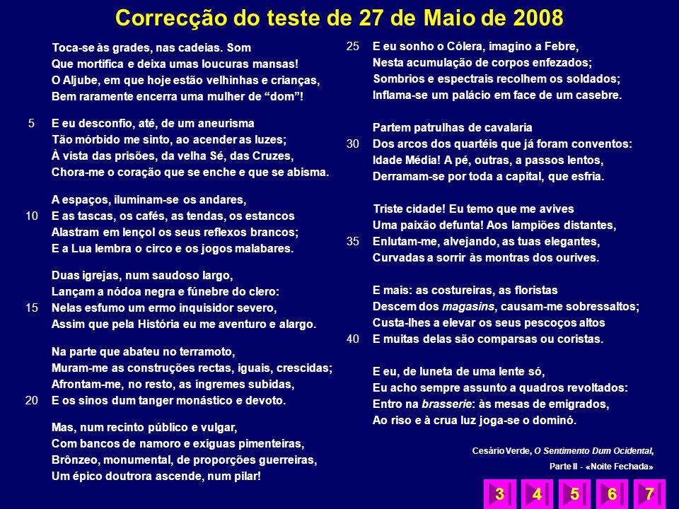 Correcção do teste de 27 de Maio de 2008