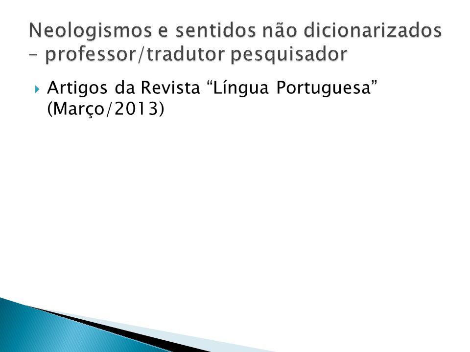 Neologismos e sentidos não dicionarizados – professor/tradutor pesquisador