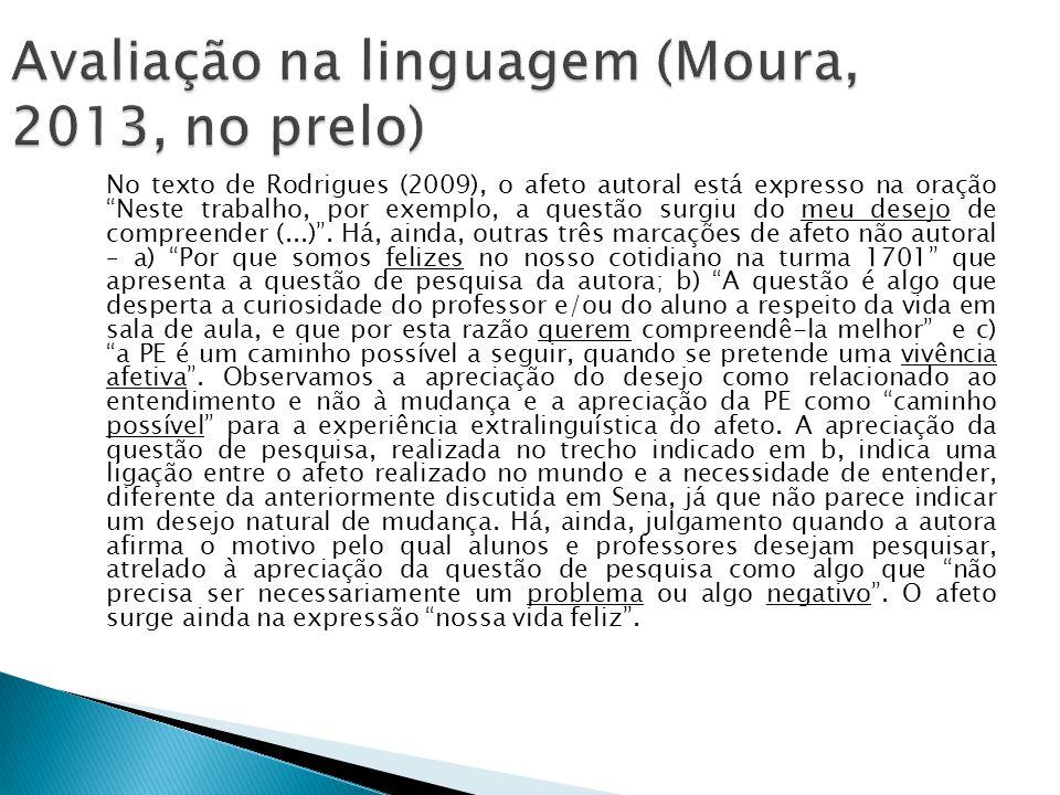 Avaliação na linguagem (Moura, 2013, no prelo)
