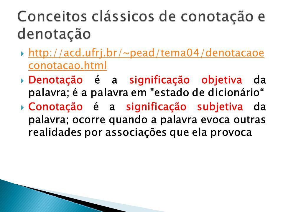 Conceitos clássicos de conotação e denotação