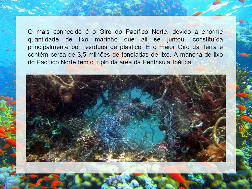 O mais conhecido é o Giro do Pacífico Norte, devido à enorme quantidade de lixo marinho que ali se juntou, constituída principalmente por resíduos de plástico.