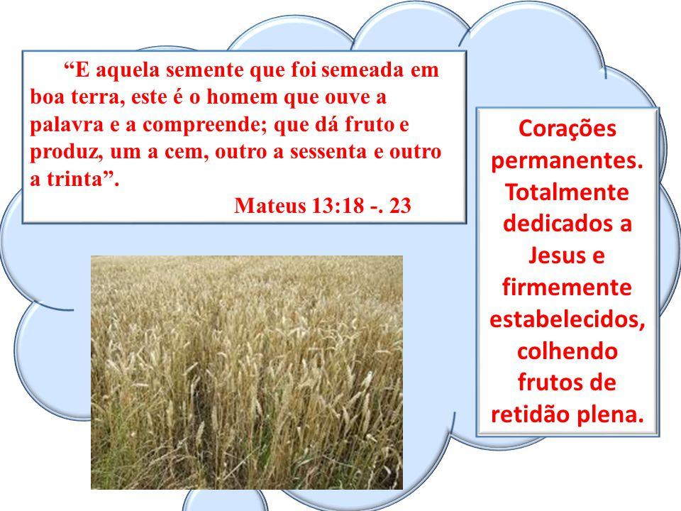 E aquela semente que foi semeada em boa terra, este é o homem que ouve a palavra e a compreende; que dá fruto e produz, um a cem, outro a sessenta e outro a trinta .