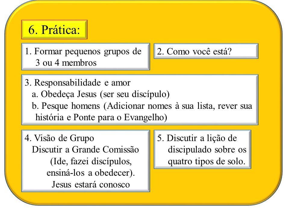 6. Prática: 1. Formar pequenos grupos de 3 ou 4 membros