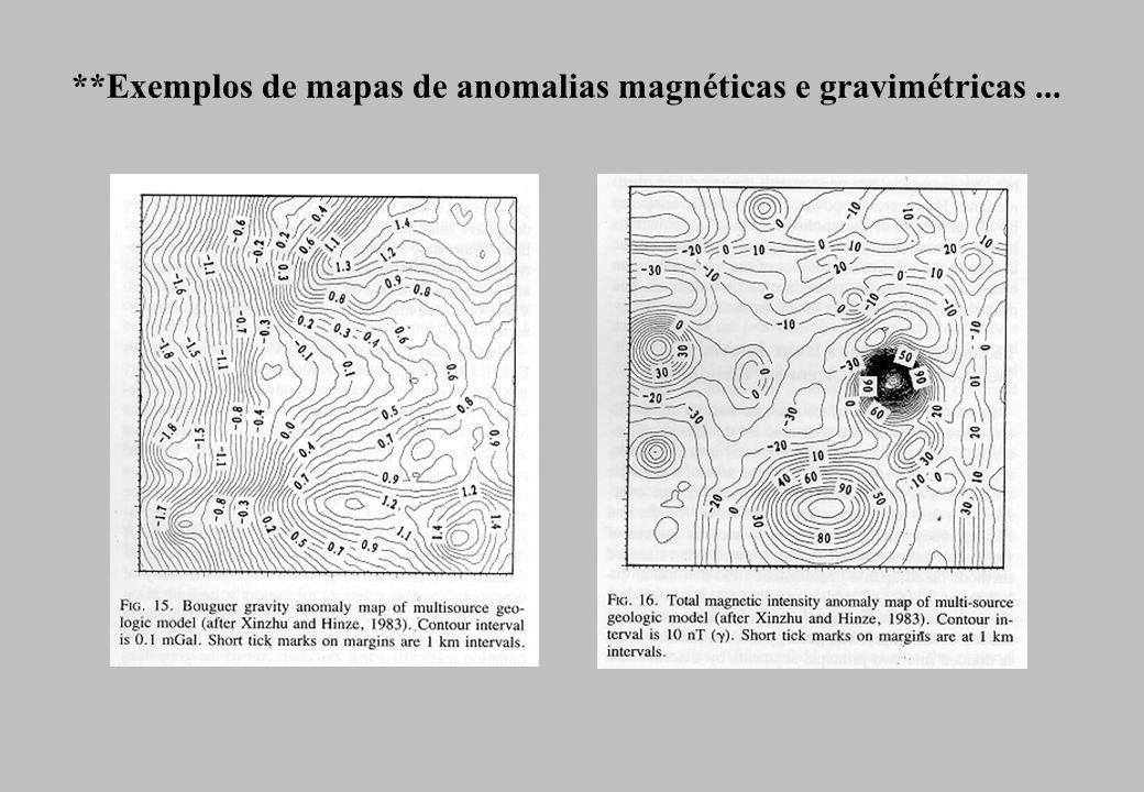 *Exemplos de mapas de anomalias magnéticas e gravimétricas ...