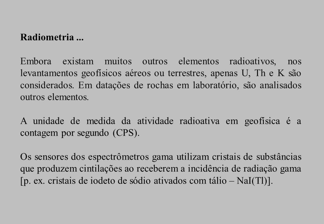 Radiometria ... O estudo da distribuição de elementos químicos radioativos na subsuperfície terrestre é realizado pela radiometria.