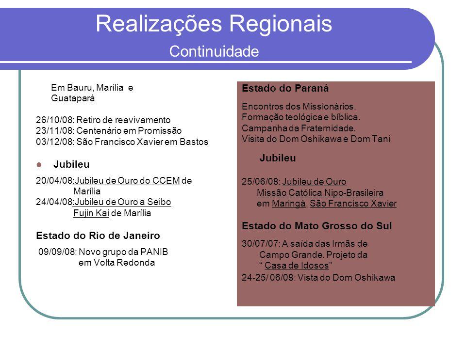 Realizações Regionais Continuidade