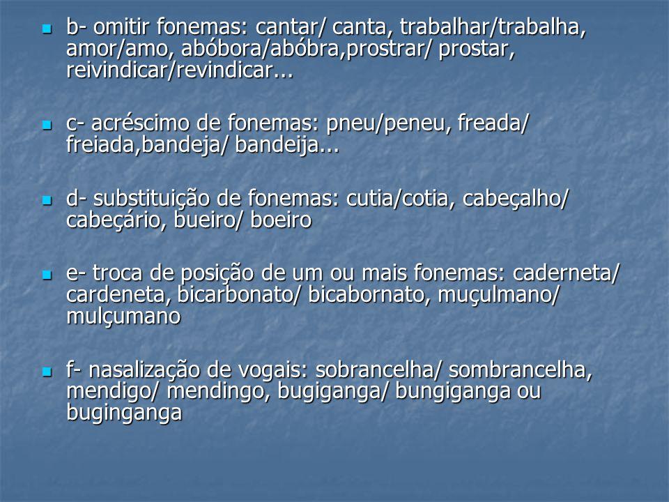 b- omitir fonemas: cantar/ canta, trabalhar/trabalha, amor/amo, abóbora/abóbra,prostrar/ prostar, reivindicar/revindicar...