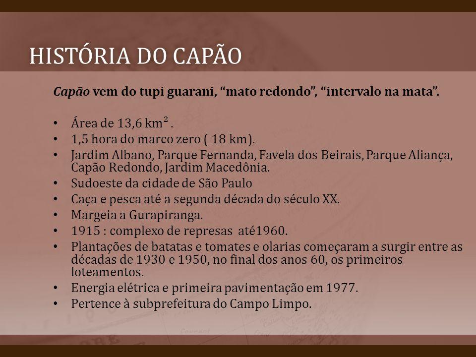 História do capão Capão vem do tupi guarani, mato redondo , intervalo na mata . Área de 13,6 km² .
