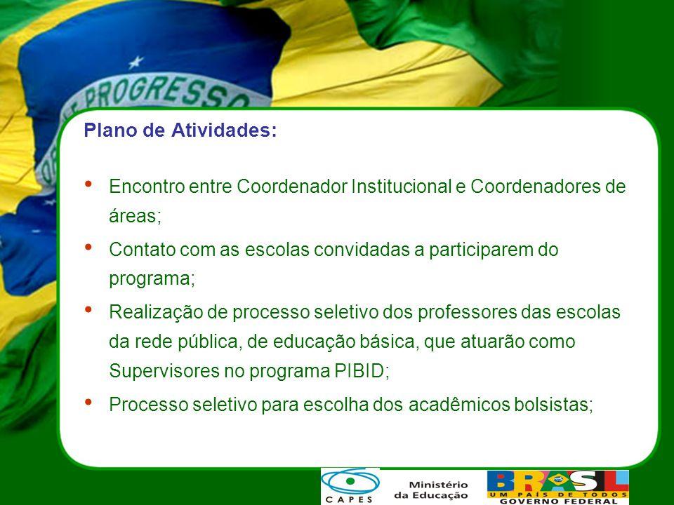 Plano de Atividades: Encontro entre Coordenador Institucional e Coordenadores de áreas;