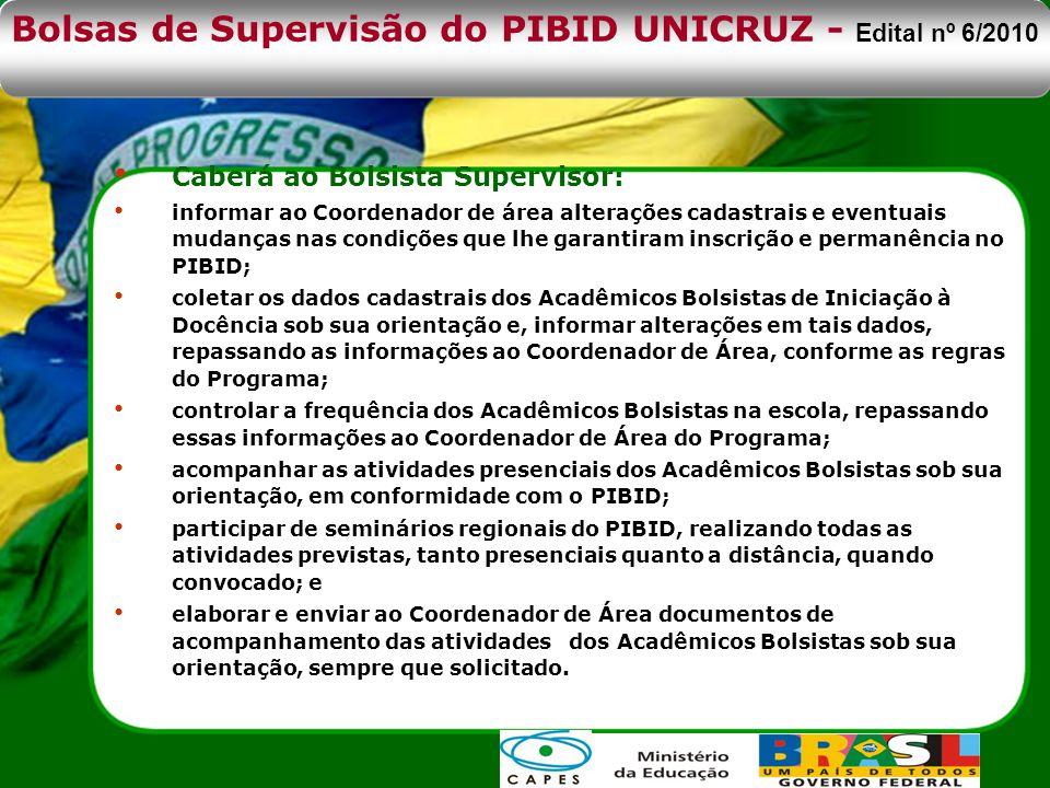 Bolsas de Supervisão do PIBID UNICRUZ - Edital nº 6/2010