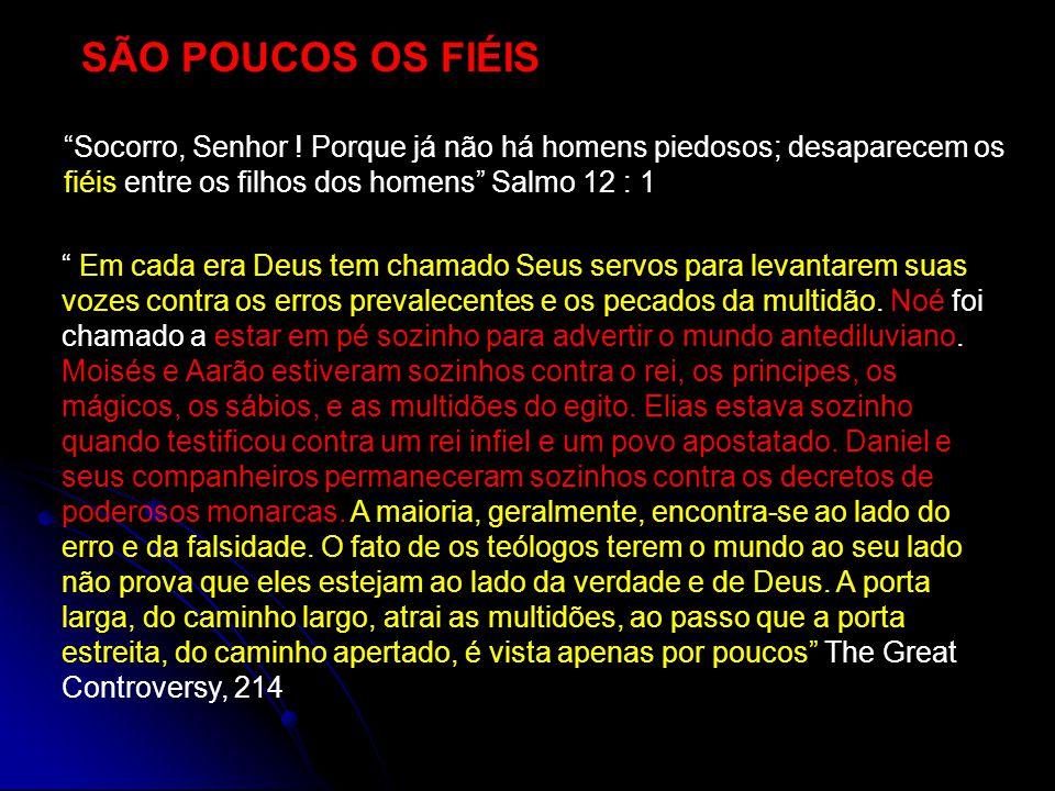 SÃO POUCOS OS FIÉIS Socorro, Senhor ! Porque já não há homens piedosos; desaparecem os fiéis entre os filhos dos homens Salmo 12 : 1.