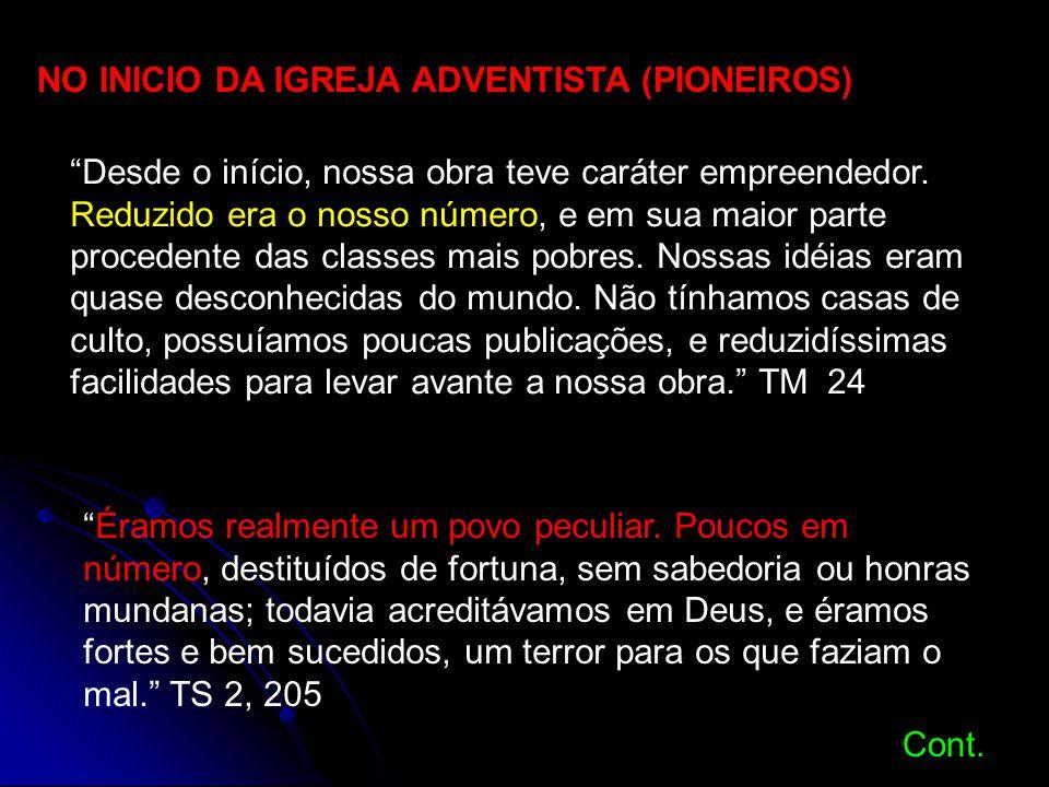 NO INICIO DA IGREJA ADVENTISTA (PIONEIROS)