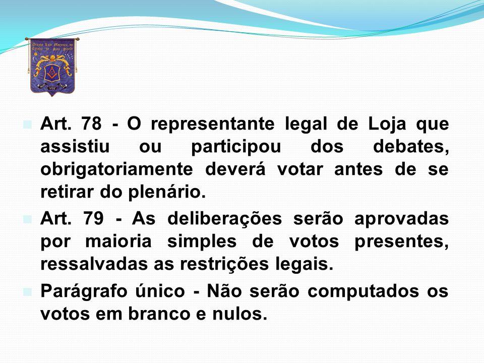 Art. 78 - O representante legal de Loja que assistiu ou participou dos debates, obrigatoriamente deverá votar antes de se retirar do plenário.