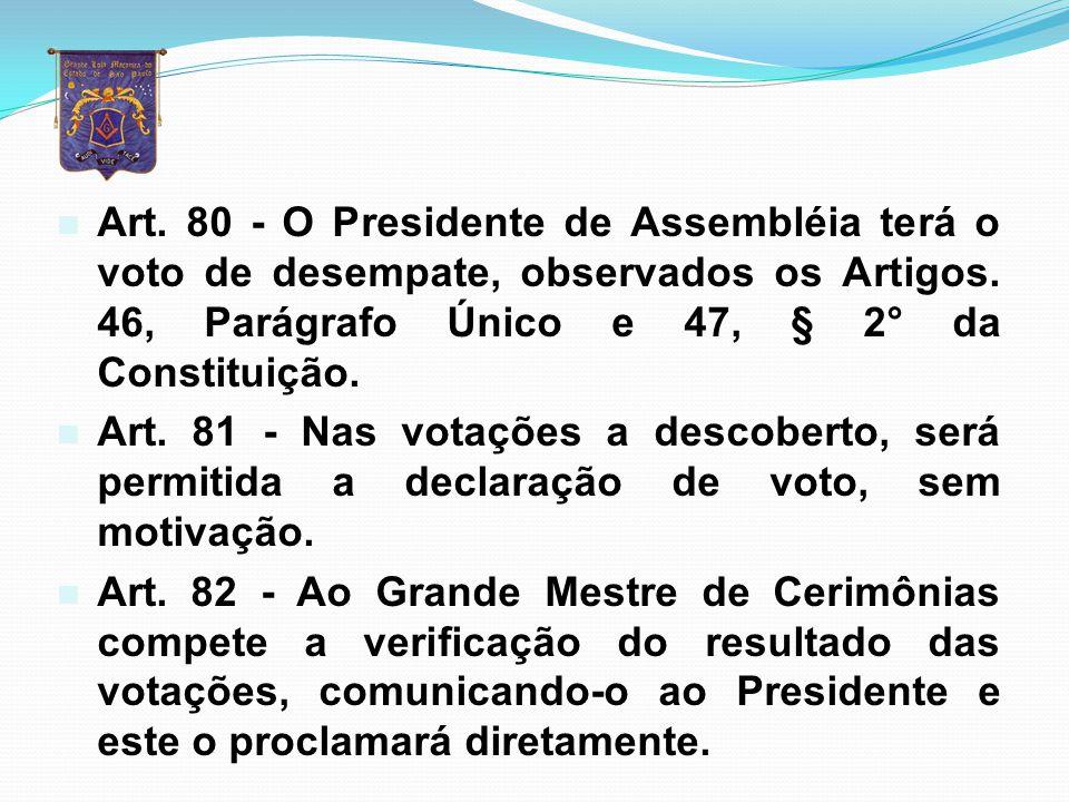 Art. 80 - O Presidente de Assembléia terá o voto de desempate, observados os Artigos. 46, Parágrafo Único e 47, § 2° da Constituição.