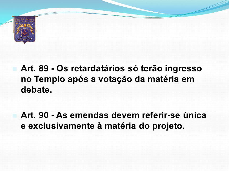 Art. 89 - Os retardatários só terão ingresso no Templo após a votação da matéria em debate.