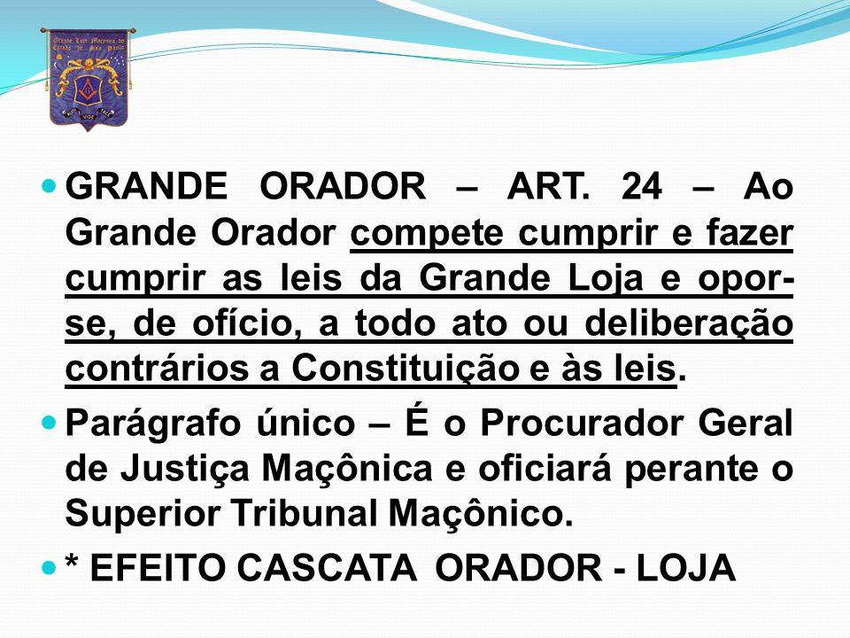 GRANDE ORADOR – ART. 24 – Ao Grande Orador compete cumprir e fazer cumprir as leis da Grande Loja e opor-se, de ofício, a todo ato ou deliberação contrários a Constituição e às leis.