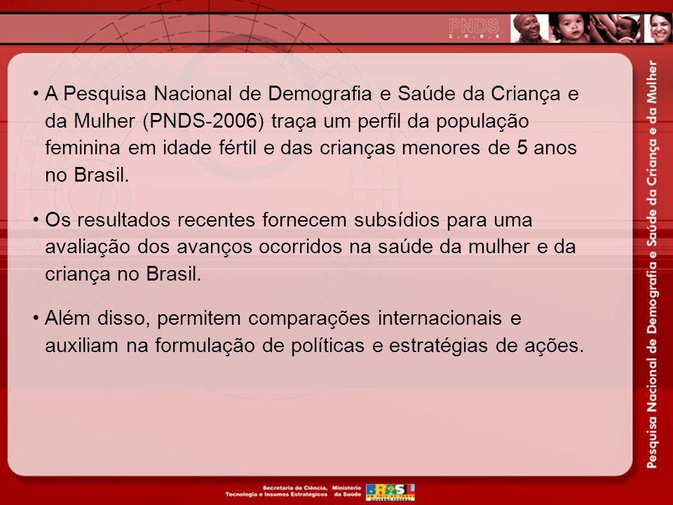 A Pesquisa Nacional de Demografia e Saúde da Criança e da Mulher (PNDS-2006) traça um perfil da população feminina em idade fértil e das crianças menores de 5 anos no Brasil.