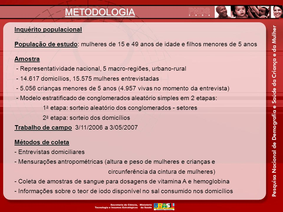 METODOLOGIA Inquérito populacional