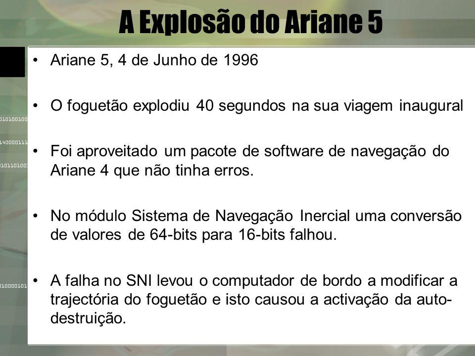 A Explosão do Ariane 5 Ariane 5, 4 de Junho de 1996
