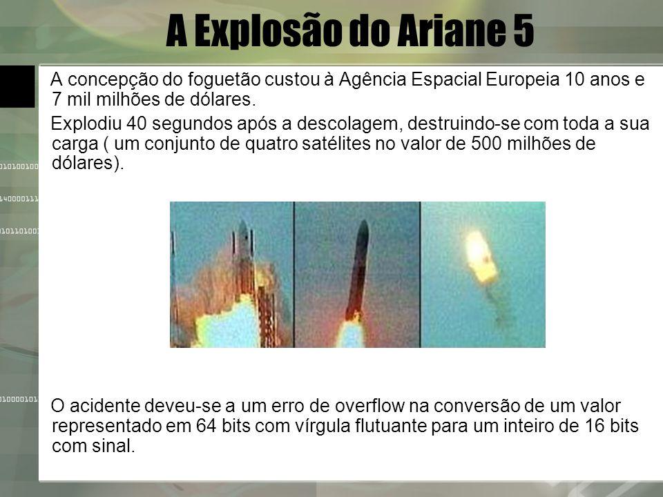 A Explosão do Ariane 5 A concepção do foguetão custou à Agência Espacial Europeia 10 anos e 7 mil milhões de dólares.