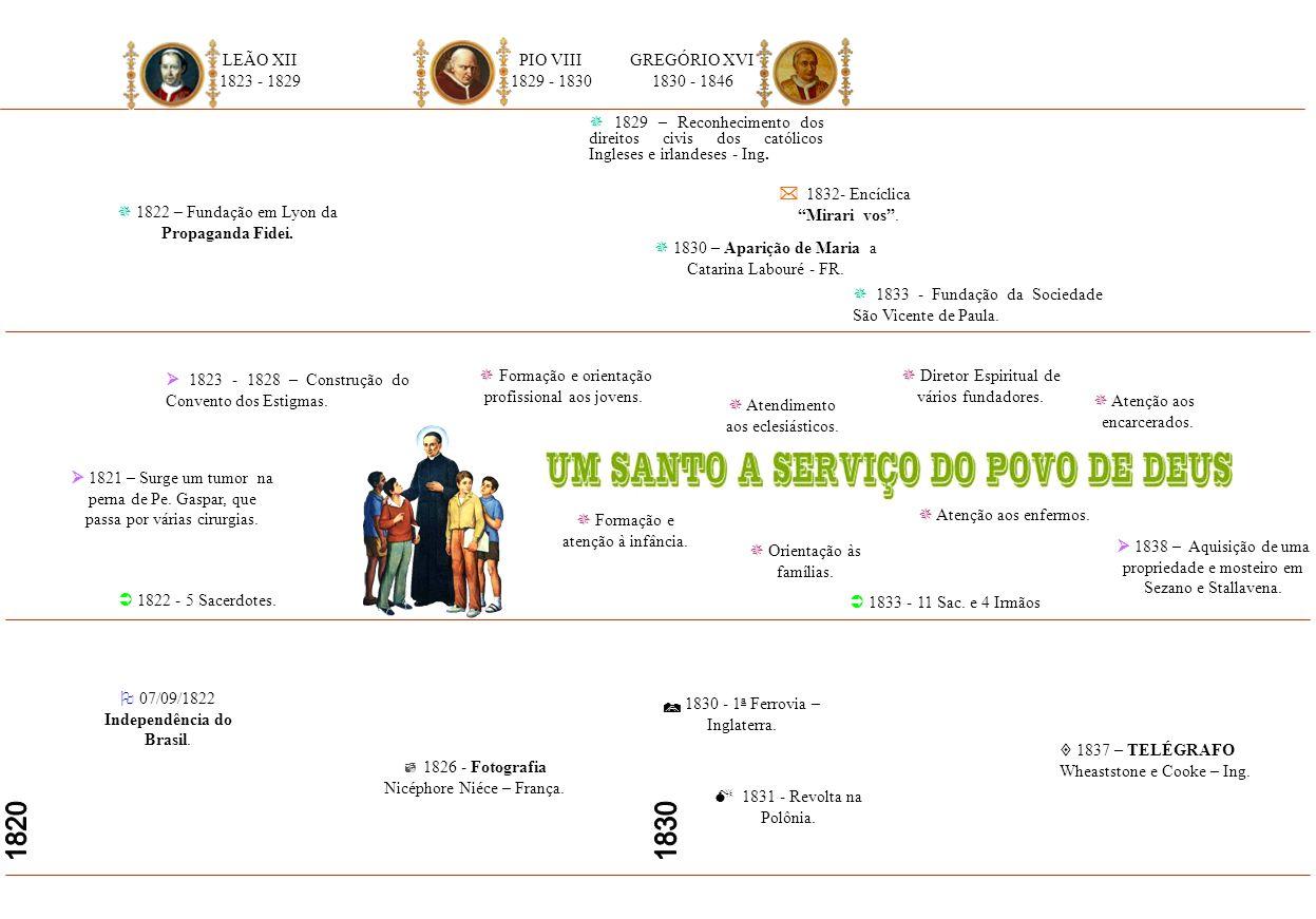1820 1830 LEÃO XII 1823 - 1829 PIO VIII 1829 - 1830 GREGÓRIO XVI