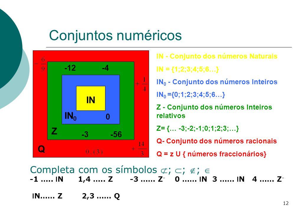 Conjuntos numéricos IN IN0 Z Q Completa com os símbolos ; ; ; 