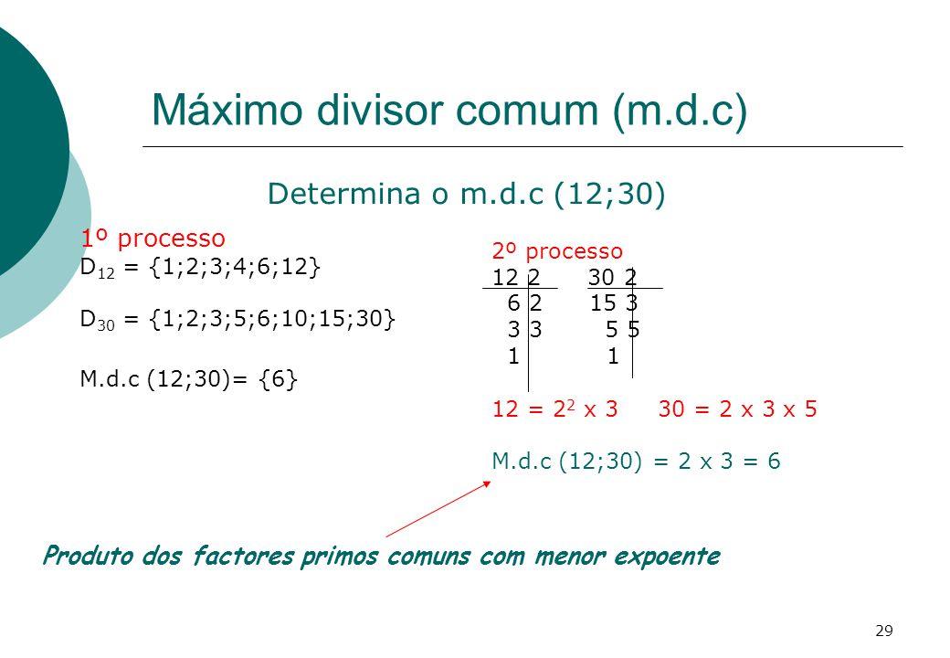 Máximo divisor comum (m.d.c)