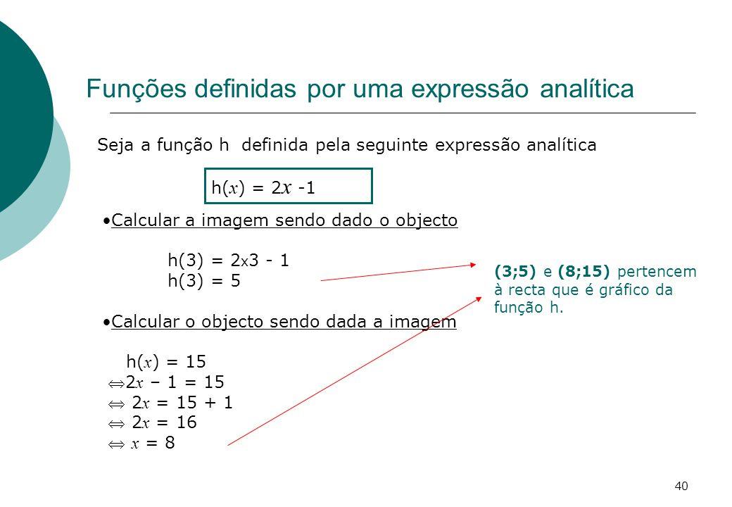 Funções definidas por uma expressão analítica