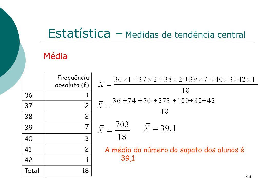 Estatística – Medidas de tendência central