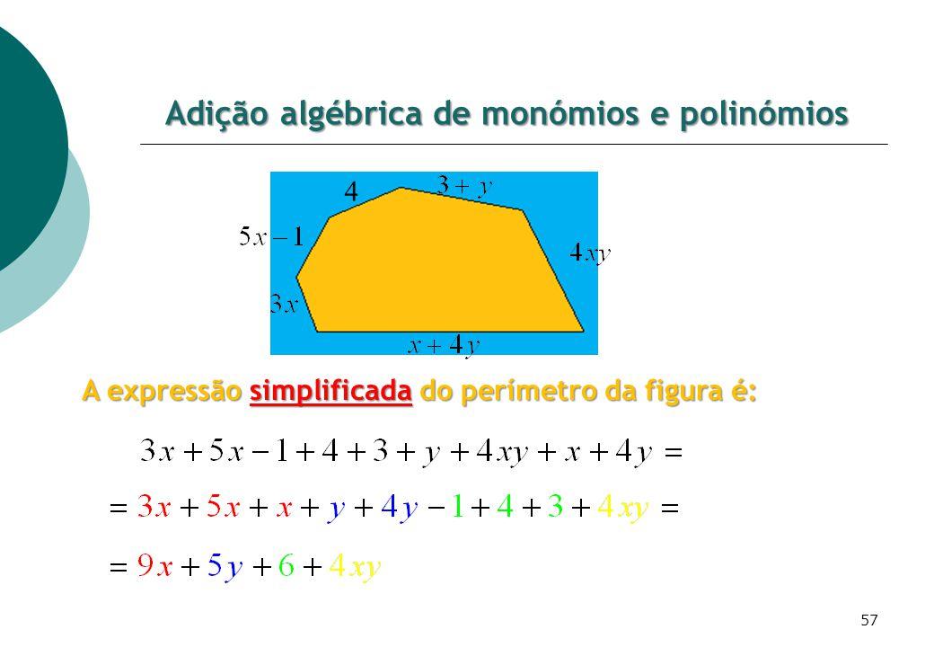 Adição algébrica de monómios e polinómios