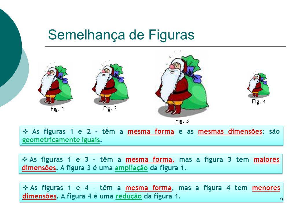 Semelhança de Figuras Fig. 3. Fig. 2. Fig. 1. Fig. 4. As figuras 1 e 2 – têm a mesma forma e as mesmas dimensões: são geometricamente iguais.