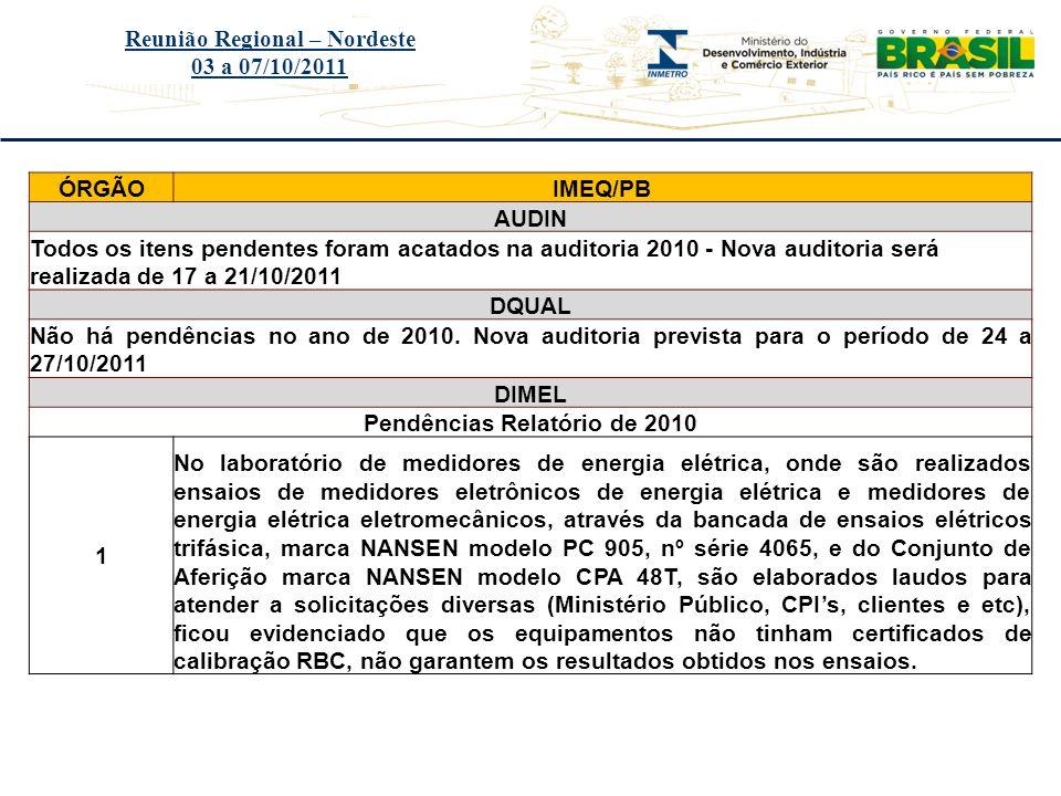 Reunião Regional – Nordeste Pendências Relatório de 2010
