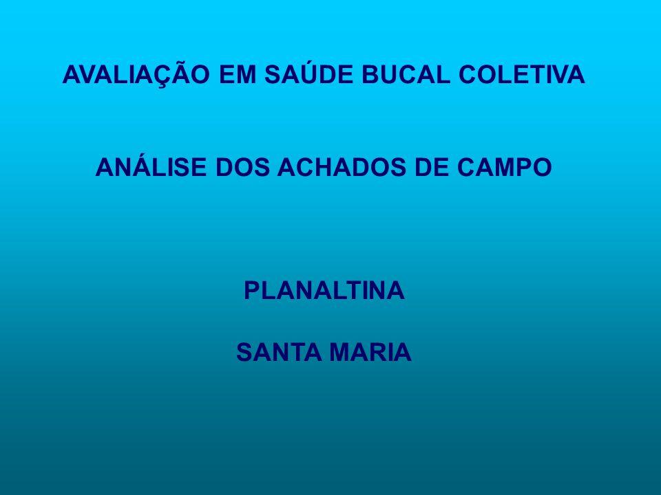 AVALIAÇÃO EM SAÚDE BUCAL COLETIVA ANÁLISE DOS ACHADOS DE CAMPO