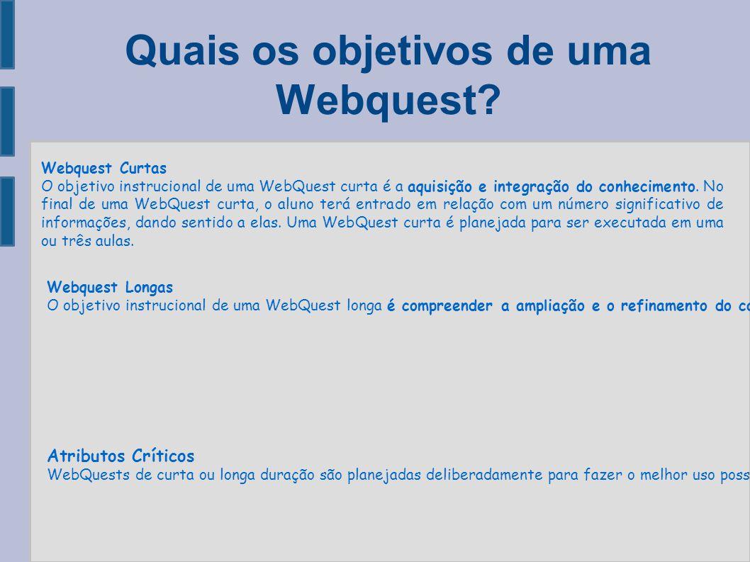 Quais os objetivos de uma Webquest