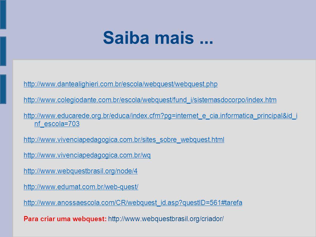 Saiba mais ... http://www.dantealighieri.com.br/escola/webquest/webquest.php.