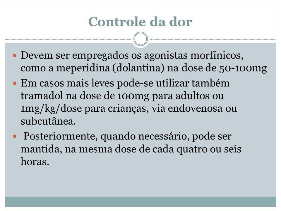 Controle da dor Devem ser empregados os agonistas morfínicos, como a meperidina (dolantina) na dose de 50-100mg.