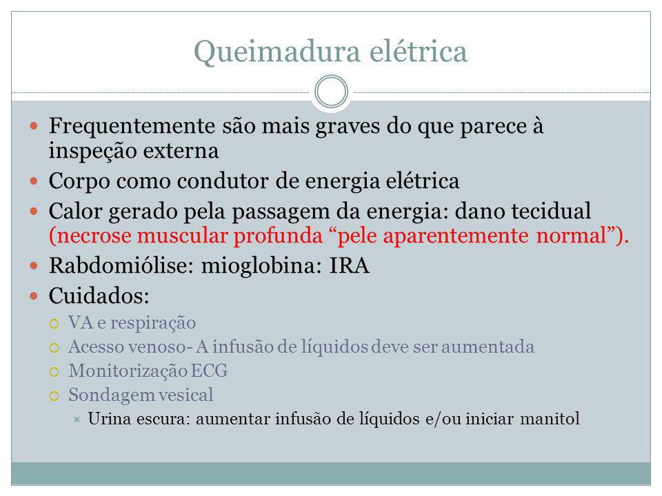 Queimadura elétrica Frequentemente são mais graves do que parece à inspeção externa. Corpo como condutor de energia elétrica.