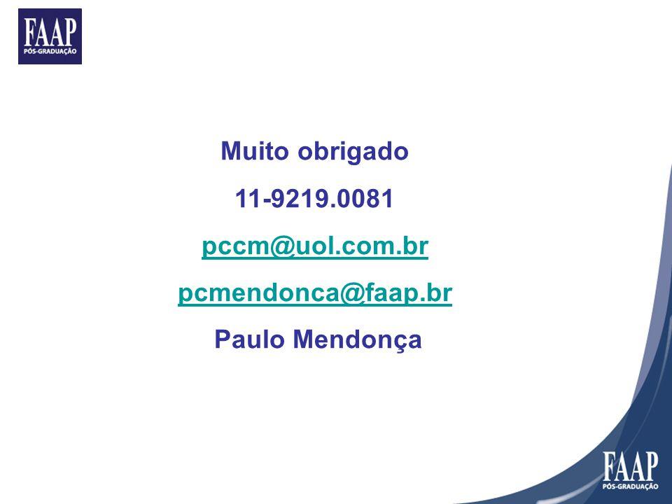 Muito obrigado 11-9219.0081 pccm@uol.com.br pcmendonca@faap.br Paulo Mendonça