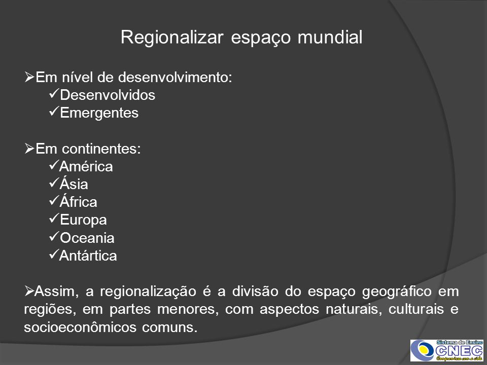 Regionalizar espaço mundial