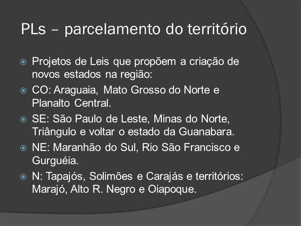 PLs – parcelamento do território