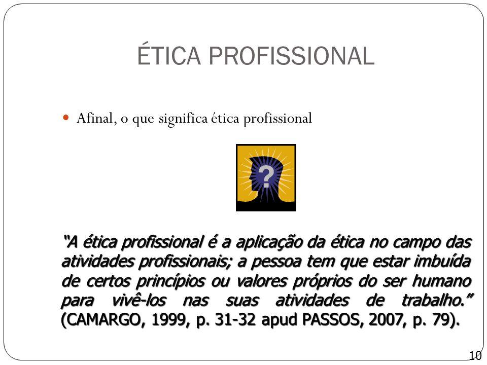 ÉTICA PROFISSIONAL Afinal, o que significa ética profissional