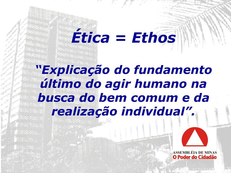 Ética = Ethos Explicação do fundamento último do agir humano na busca do bem comum e da realização individual .