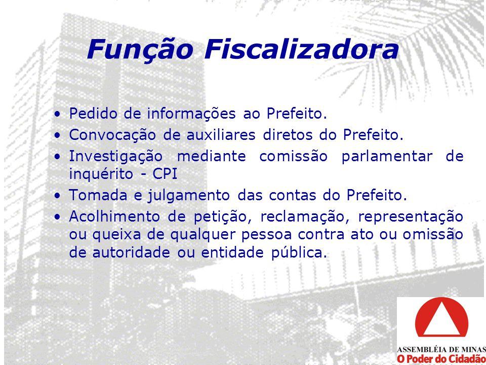 Função Fiscalizadora Pedido de informações ao Prefeito.