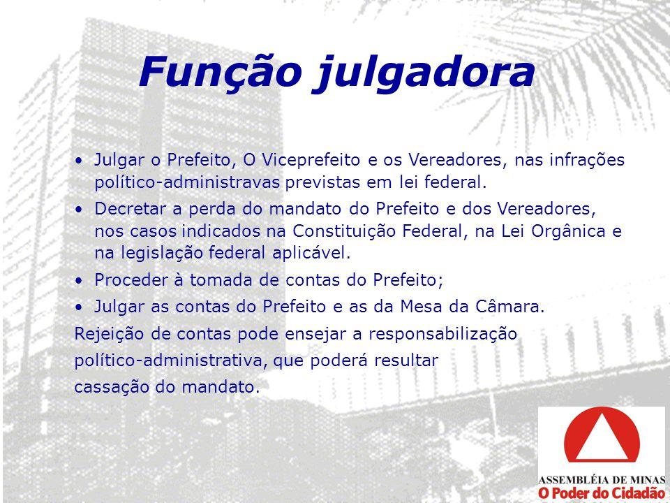 Função julgadora Julgar o Prefeito, O Viceprefeito e os Vereadores, nas infrações político-administravas previstas em lei federal.