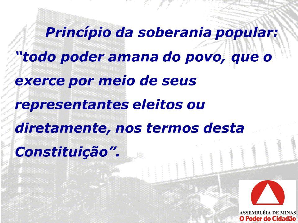 Princípio da soberania popular: todo poder amana do povo, que o exerce por meio de seus representantes eleitos ou diretamente, nos termos desta Constituição .