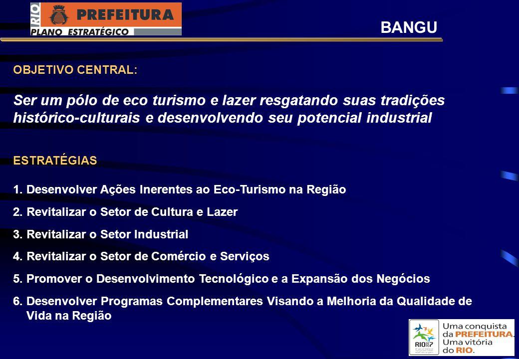 BANGU OBJETIVO CENTRAL: Ser um pólo de eco turismo e lazer resgatando suas tradições histórico-culturais e desenvolvendo seu potencial industrial.