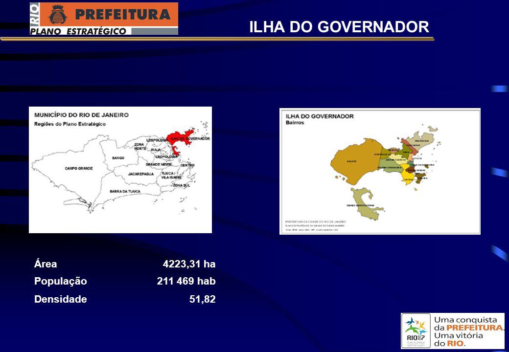 ILHA DO GOVERNADOR Área 4223,31 ha População 211 469 hab Densidade