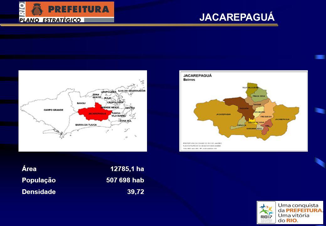 JACAREPAGUÁ Área 12785,1 ha População 507 698 hab Densidade 39,72
