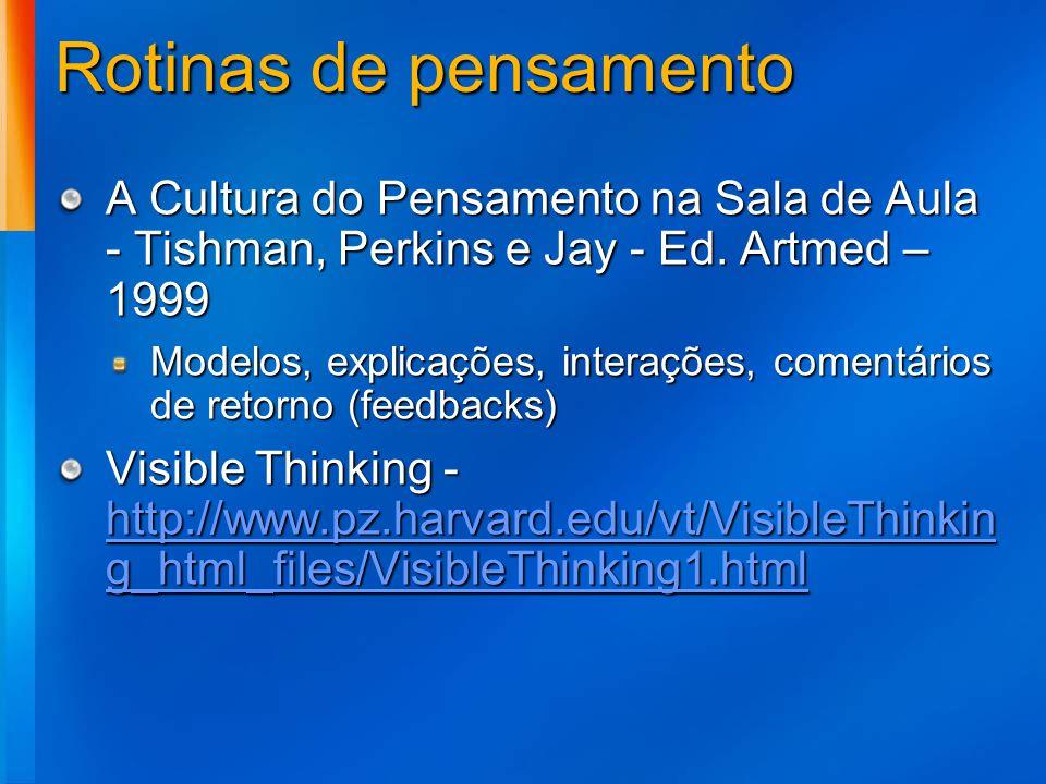 Rotinas de pensamento A Cultura do Pensamento na Sala de Aula - Tishman, Perkins e Jay - Ed. Artmed – 1999.