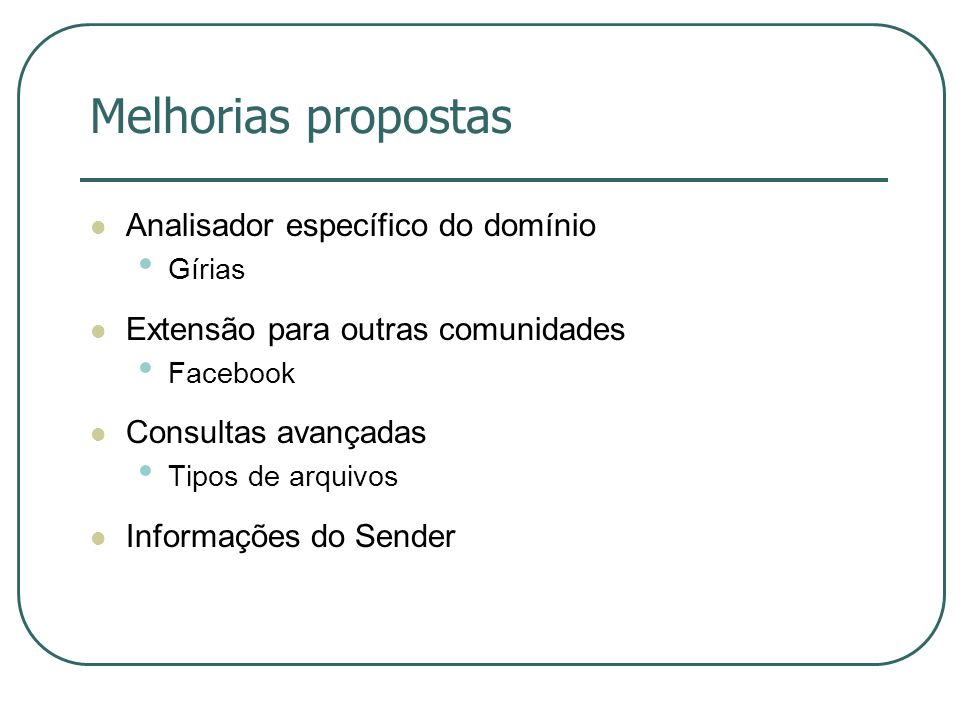 Melhorias propostas Analisador específico do domínio